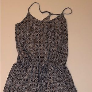 white and blue patterned romper